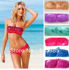 2014 New arrival Swimsuit swimwear bikini set for women, solid sequined bikinis bikini for women 6 Colors $13.64