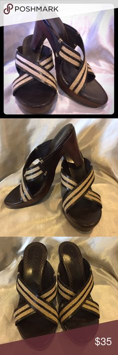 Cole Haan Brown and tan  Sandals Size 7 Cole Haan brown and tan Leather sandal Excellent Condition size 7 Cole Haan Shoes Sandals