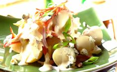 Kathy Casey's Endive Salad with Roasted Pears, Hazelnuts, Blue Cheese Dish D'Lish Cranberry Vinaigrette Pear Salad, Pear Recipes, Salad Recipes, Cranberry Recipes, Cranberry Vinaigrette, Roasted Pear, Cheese Dishes, Dressing Recipe