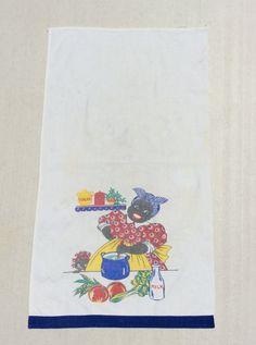 Vintage Black Americana Towel Mammy Stirs the by unclebunkstrunk
