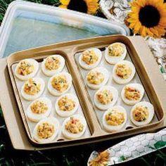Mexican Deviled Eggs Recipe - Great vegetarian potluck dish! Super easy!