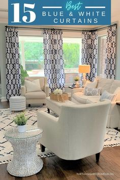 Looking for blue+ white curtains, but need help choosing one that fits your personality and style? Check out 15 best blue and white curtains by thetarnishedjewelblog.com #blueandwhitedecor #blueandwhitecurtains #blueandwhitehome #blueandwhite #bluecurtains #whiteandbluedecor #blueandwhiteforever #blueandwhiteinteriors #blueandwhiteignite #blueandwhiteisalwaysright #coastallivingroom #coastalfarmhouse #coastaldecor #affiliatelink Blue And White Curtains, Blue Curtains, Colorful Curtains, Leaf Curtains, Geometric Curtains, Living Room Decor Furniture, Furniture Layout, Living Rooms, White Table Lamp