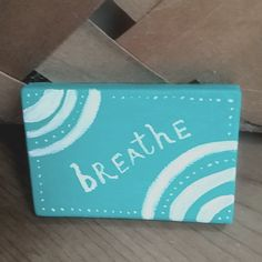 """BREATHE - Original Painting on Tiny Canvas / Acrylic Art on Mini Canvas 2""""x3"""" / Green and White Colors / Affirmation Art / Reminder by SubtleHarmony on Etsy"""