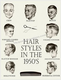 Hair Styles in the 1950s Poster  Crew Cut by TNJPosterCreations