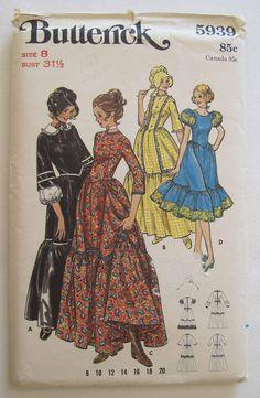 Butterick Centennial Frontier Square Dance Colonial Puritan Dress Sun Bonnet Costume Pattern 5939 Uncut Size 8. $6.00, via Etsy.