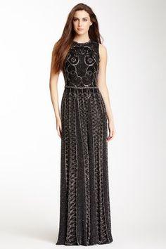 Sleeveless Beaded Silk Gown