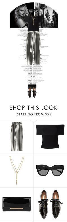 """black n white stripes"" by cnle ❤ liked on Polyvore featuring River Island, T By Alexander Wang, Vanessa Mooney, Le Specs, Jimmy Choo and H&M"