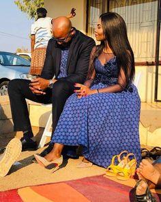 Spiffy Fashion traditional dresses from South Africa - Seshweshwe Dresses, Ladies Day Dresses, African Prom Dresses, Latest African Fashion Dresses, African Print Fashion, African Dress, Setswana Traditional Dresses, African Traditional Wear, Traditional Wedding