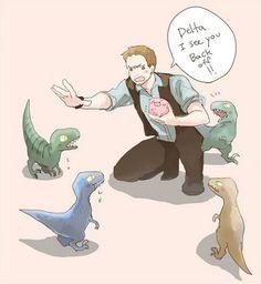 Adorable 'Jurassic World' Fan Artworks Depict Touching Raptor-Trainer Bond - DesignTAXI.com