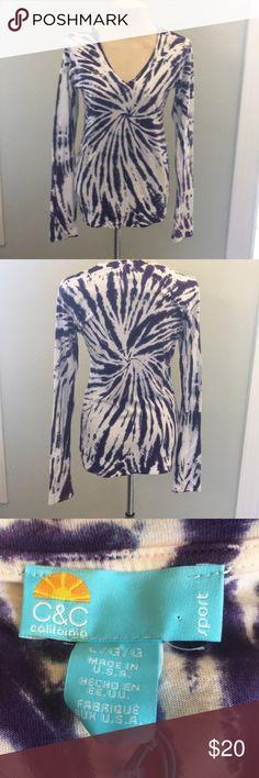 "C & C CALIFORNIA LONGSLEEVE TOP Purple & White Tye Died Look Shirt Measurements Approximately Shoulder To hem 28"", underarm to underarm 18.5"" Sleeve Length 28"". Size L C & C California Tops"