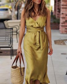 Tie Waist Spaghetti Strap Wrap Dress Shop- Women's Best Online Shopping - Offering Huge Discounts on Dresses, Lingerie , Jumpsuits , Swimwear, Tops and More. Trend Fashion, Look Fashion, Autumn Fashion, Womens Fashion, Vegas Fashion, Fashion Hacks, Classy Fashion, Petite Fashion, Korean Fashion