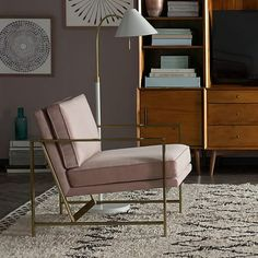 Pink Metal Frame Upholstered Chair | west elm