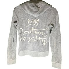 """Juicy Couture Sweatsuit Beautiful grey Juicy Couture sweatsuit (jacket and pants). Feature unique shoelace details on jacket and pants. Jacket has a crown on the back with """"Couture Royalty"""" underneath. Pants have crown on front, pocket on back. Jacket is a size medium, pants are a size small. Perfect condition except a small, unnoticeable stain on the bottom ankle of one pant leg. Juicy Couture Jackets & Coats"""