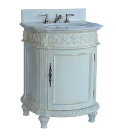 "26"" Petite Powder Room White Marble Catalina Bathroom Sink Vanity CF-4408W-AW"