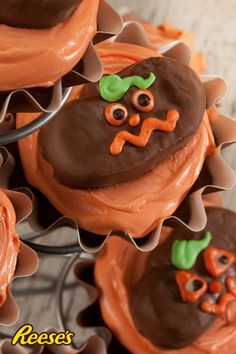 Skip the regular pumpkin patch and head to the kitchen instead. Decorate small REESE'S Peanut Butter Pumpkins with googly eyes and scary faces. Allow icing to harden before you take a big bite in. Yum and fun!