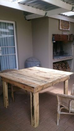 Tables Pallet Square Coffee Table Out of Pallets Pallet Crafts, Diy Pallet Projects, Patio Table, Diy Table, Coffee Table Out Of Pallets, Pallet Tables, Rustic Table, Wood Table, Painted Kitchen Tables