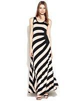 Calvin Klein Sleeveless Gathered-Stripe Maxi Dress