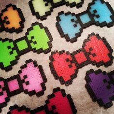 Solid Color with Black Border 8 bit Hama / Perler Bead Bow with Alligator Type clip. Hair Clip or Bow Tie.