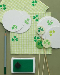 Leftover Valentine heart stamps become St. Patty's clover party accessories!
