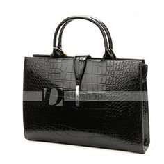 Patent Leather Hasp Zippered Women Briefcase Bag