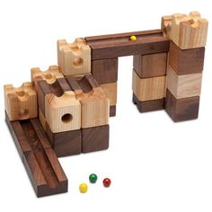 Building blocks are a cornerstone of childhood, but with most kids, the thrill is relatively short-lived. Here's a set that's guaranteed to entertain the young and the young at heart, and to teach you a few woodworking lessons along the way. These cleverly designed drops, chutes, and curved blocks encourage creative minds to assemble tall towers that double as marble raceways. (This plan was originally published in the Dec/Jan 2012 issue of Woodcraft Magazine.)