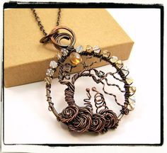 002 Antique Copper Crystal Wire Wrapped Tree of by FashionWire