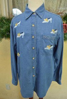 Karen Hart Sparkly Heels Shoes Denim Shirt L Party Comfy Cute Soft Jeans Fun #KarenHart #ButtonDownShirt #Casual