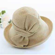 Elegant large bow straw hat for women curling dome summer UV and sun protection hats