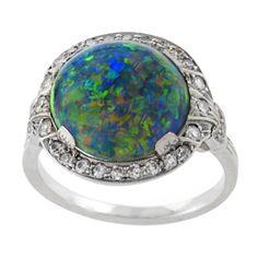 J. E. Caldwell Art Deco Black Opal, Diamond and Platinum Ring | 1stdibs.com