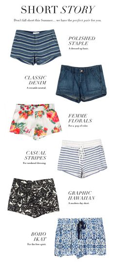 A perfect shorts story - click through to find your perfect pair whether they be striped, tropical printed or denim.