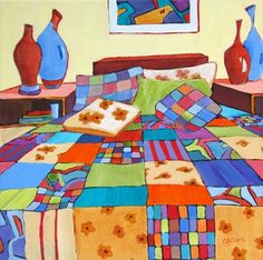 Ah Sweet Sleep, contemporary painting of a bed, painting by artist Carolee Clark