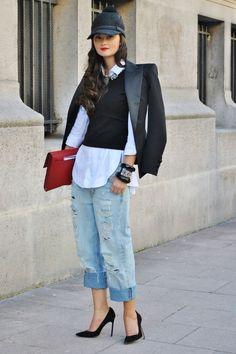 street style #boyfriend #jeans