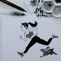 Inktober 18: Escape. Is there runners who are following me?  Inktober 18: S'échapper. Y a t'il des coureurs qui me suivent?  #inktober #inktober2016 #drawingchallenge #inking #ink #drawing #illustration #artistsoninstagram #art #sketch #sketchbook #pentel #pentelbrushpen #lievre #lapin #jogging #running #run #hare #rabbit