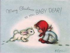 Vintage Christmas card with a bunny rabbit! (1/2/2014) Christmas (CTS)