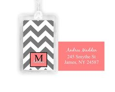 chevron stripe luggage tag personalized luggage tag by walltastic Personalized Luggage Tags, Custom Luggage Tags, Chevron, Monogram, Unique Jewelry, Handmade Gifts, Etsy, Accessories, Personalised Luggage Tags