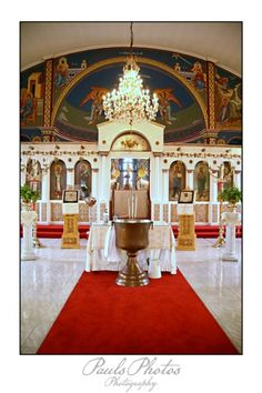 Beautiful Greek Church prepared for a Christening- St Basil, Springs, South Africa. I was married there and my eldest son was christened there.