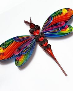 """Quilled Paper Art: """"Colourful Dragonfly"""" – Dragonfly Wall Art – Handmade Artwork – Paper Wall Art – Home Decor – … Quilling Flower Designs, Quilling Butterfly, Paper Quilling Flowers, Paper Quilling Patterns, Quilled Paper Art, Quilling Paper Craft, Quilling 3d, Quilling Cards, Paper Crafts"""