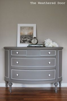 A Grey Demi Lune Dresser with White Accents | from The Weathered Door