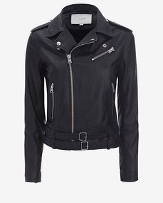 IRO Belted Hem Moto Leather Jacket: Black: This leather jacket is an impossibly cool must-have as it plays a part in achieving that perfect biker edge. Asymmetrical zip front and a self belt at hem. Zip pockets. Shoulder epaulettes. 6 1/2 zips at cuff. Lined. In black.  Fabric: 100% lamb leather ...