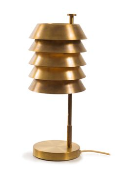Anonymous; Brass Table Lamp by T. Røste & Co., 1950s.