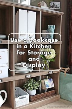 Add storage and organization to your kitchen with a bookcase! I love the salt oak finish!