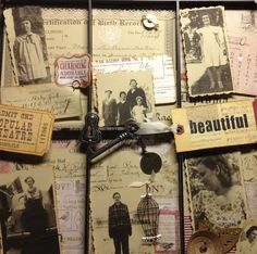 For my sisters birthday I made her a collage of our moms photos. I made copies if moms birth announcement, high school diploma and marriage certificate. I layered photos and added 7 gypsy and Tim Holtz metals. Photo Layers, Photo Collages, Marriage Certificate, Photo Memories, Diy Things, 60th Birthday, Photo Displays, Tim Holtz, Trays