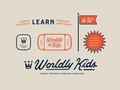 Worldly Kids / final brand elements wk icon language family world script crown type playful identity branding worldly kids Logos Vintage, Retro Logos, Graphics Vintage, Vintage Typography, Vintage Branding, Vector Graphics, Logo Inspiration, Retro Graphic Design, Vintage Design