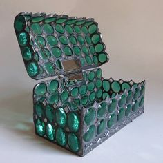 Glass jewelry box medieval chest by minjean on Etsy
