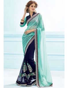 Exotic Midnight Blue and Turquoise #Saree