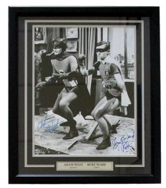 Adam West Burt Ward Signed Framed Batman & Robin 16x20 B&W Photo Inscribed BAS