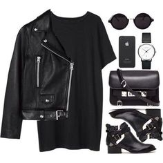 All black outfit. How to wear all black. How to wear black booties. Mode Outfits, Fall Outfits, Casual Outfits, Fashion Outfits, Womens Fashion, Edgy Work Outfits, Fall Dresses, Casual Shirts, American Apparel