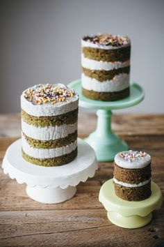 Matcha Mini Cakes With Black Sesame Buttercream