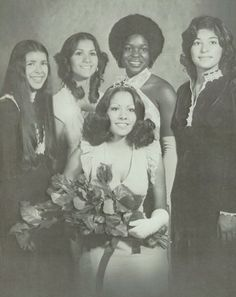"""The 1974 Homecoming Queen and her court, in the """"Tusconian"""" yearbook of Tucson high school in Tucson, Arizona.  #Tucson #Arizona #Tusconian #yearbook #1974"""