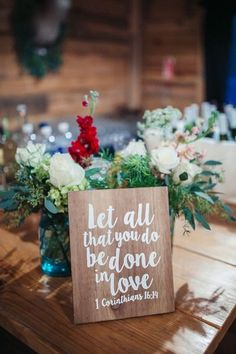 Wooden wedding sign - love quotes on wooden signs around the reception {Brandy Angel Photography}